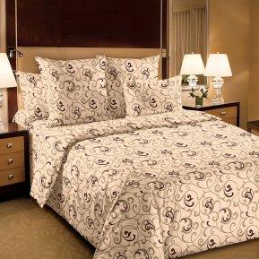 «Вензель 2 беж.» двуспальное с европростыней постельное белье, БЯЗЬ, Текс-Дизайн