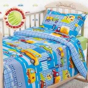 «Машинки (голубой)» дет. кроватка на резинке постельное белье, БЯЗЬ, Текс-Дизайн