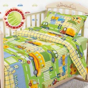 «Машинки (зеленые)» дет. кроватка на резинке постельное белье, БЯЗЬ, Текс-Дизайн
