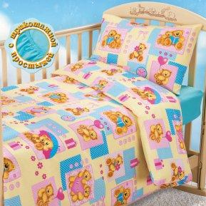 «Мишутки (желтый)» дет. кроватка на резинке постельное белье, БЯЗЬ, Текс-Дизайн