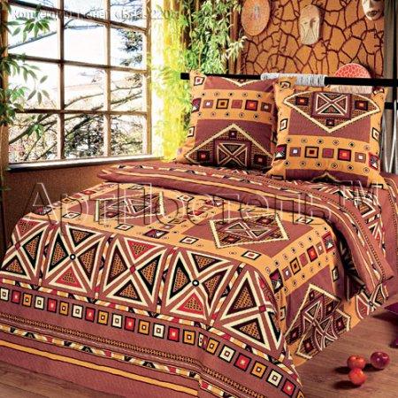 Постельное белье «Африка» двуспальное с европростыней, Бязь, Арт Дизайн