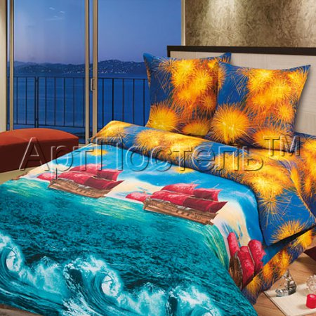 «Алые паруса» двуспальное с европростыней постельное белье, Бязь, Арт Дизайн