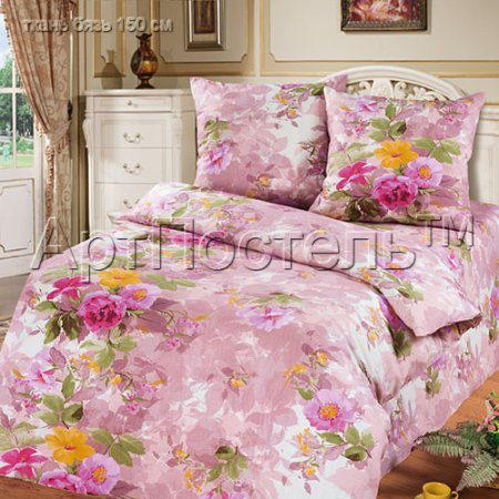 «Аромат лета (розовый)» 1,5 - спальное постельное белье, Бязь, Арт Дизайн