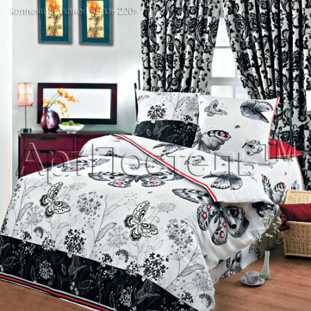 Постельное белье «Бабочки» двуспальное с европростыней, Бязь, Арт Дизайн