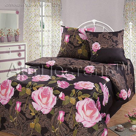 Постельное белье «Чайная роза (черный)» двуспальное с европростыней, Бязь, Арт Дизайн