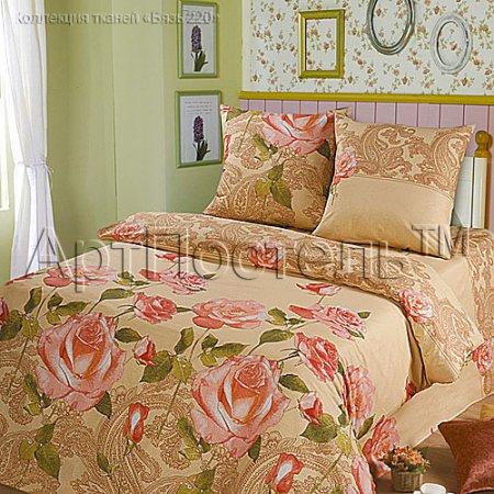 «Чайная роза (бежевый)» семейное постельное белье, Бязь, Арт Дизайн