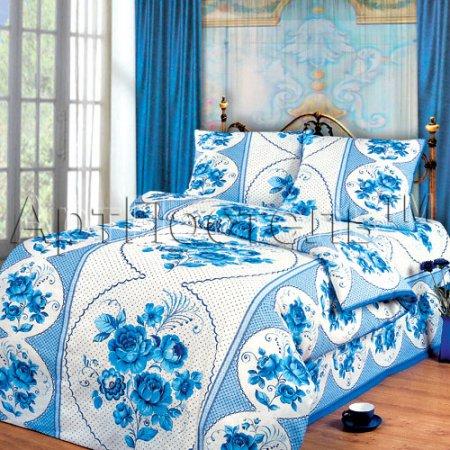 Постельное белье «Гжель» 1,5 - спальное, Бязь, Арт Дизайн