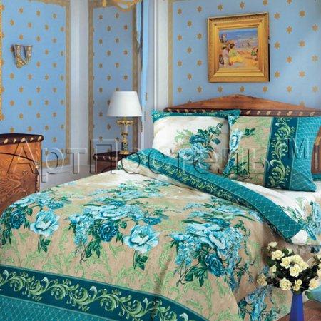Постельное белье «Гобелен (синий)» двуспальное с европростыней, Бязь, Арт Дизайн