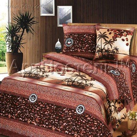 Постельное белье «Кофе» двуспальное с европростыней, Бязь, Арт Дизайн