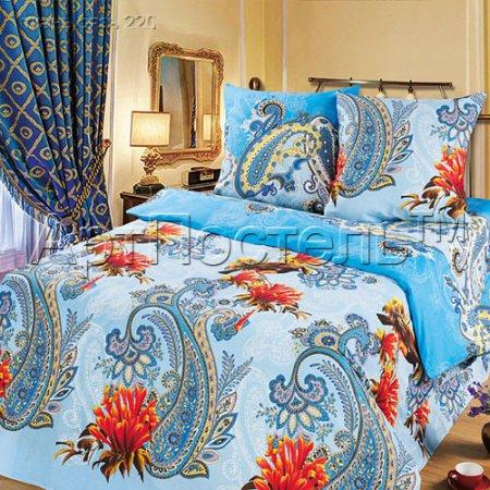 «Колибри (синий)» двуспальное с европростыней постельное белье, Бязь, Арт Дизайн