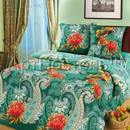 Постельное белье «Колибри (зеленый)» двуспальное, Бязь, Арт Дизайн