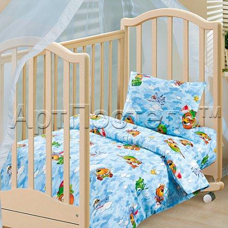 «Мишки в армии» дет. кроватка постельное белье, Бязь, Арт Дизайн