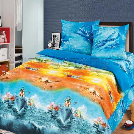 «Морской бой» 1,5 - спальное постельное белье, Бязь, Арт Дизайн