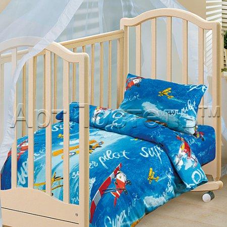 «Пилот» дет. кроватка постельное белье, Бязь, Арт Дизайн