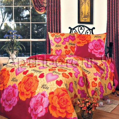 «Поцелуй» двуспальное с европростыней постельное белье, Бязь, Арт Дизайн