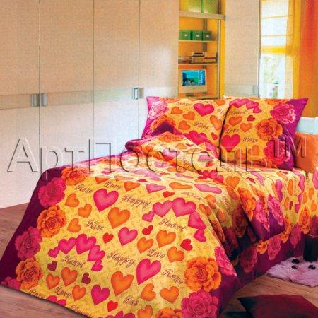 «Поцелуй» 1,5 - спальное постельное белье, Бязь, Арт Дизайн