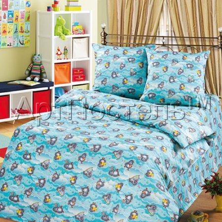 «Подарок (голубой)» 1,5 - спальное постельное белье, Бязь, Арт Дизайн