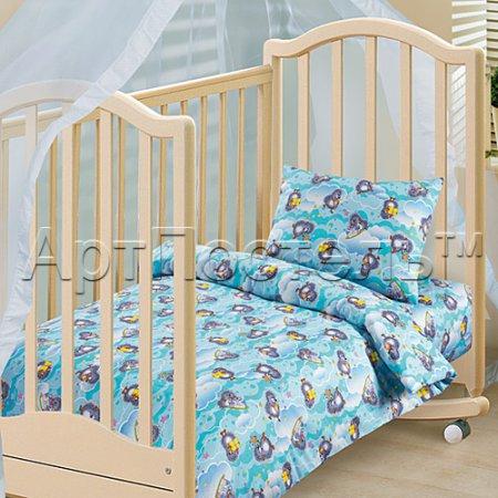 «Подарок (голубой)» дет. кроватка постельное белье, Бязь, Арт Дизайн
