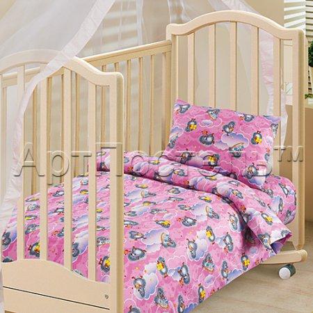 «Подарок (розовый)» дет. кроватка постельное белье, Бязь, Арт Дизайн