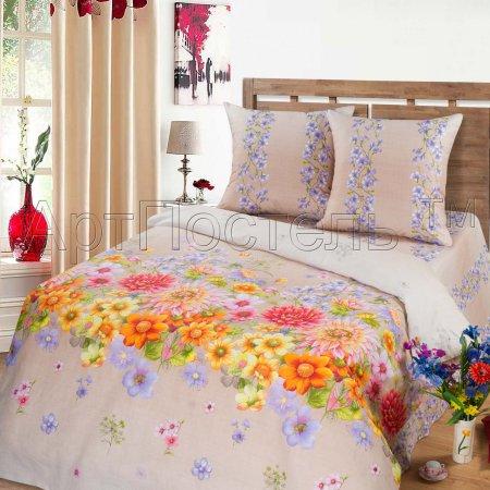 Постельное белье «Радуга цветов (бежевый)» двуспальное с европростыней, Бязь, Арт Дизайн