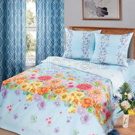 Постельное белье «Радуга цветов (голубой)» 1,5 - спальное, Бязь, Арт Дизайн