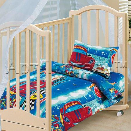 «Ралли» дет. кроватка на резинке постельное белье, Бязь, Арт Дизайн