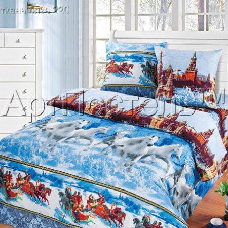 «Русская тройка» семейное постельное белье, Бязь, Арт Дизайн