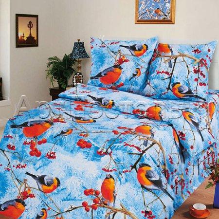 Постельное белье «Снегири» 1,5 - спальное, Бязь, Арт Дизайн