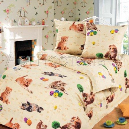 «Усатый-полосатый» 1,5 - спальное постельное белье, Бязь, Арт Дизайн
