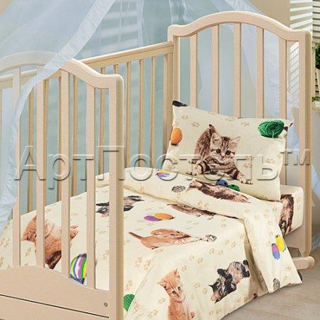 «Усатый-полосатый» дет. кроватка постельное белье, Бязь, Арт Дизайн