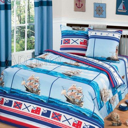 Постельное белье «Вольный ветер» двуспальное с европростыней, Бязь, Арт Дизайн