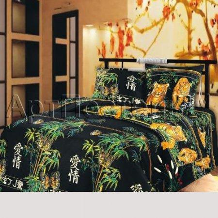 Постельное белье «Восточная ночь (черный)» семейное, Бязь, Арт Дизайн
