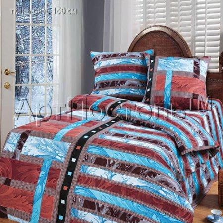 «Иллюзия (коричневый)» 1,5 - спальное постельное белье, Бязь, Арт Дизайн