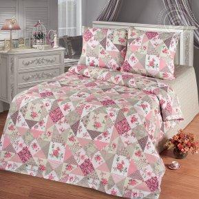 «Лоскутная мозаика розовая» семейное постельное белье, Бязь, Арт Дизайн