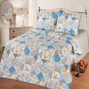 «Лоскутная мозаика голубая» семейное постельное белье, Бязь, Арт Дизайн