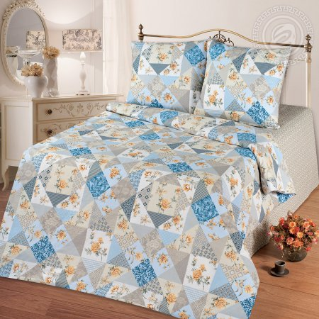Постельное белье «Лоскутная мозаика голубая» ЕВРО, Бязь, Арт Дизайн