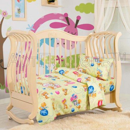 «Мышки (фисташка)» дет. кроватка постельное белье, Бязь, Арт Дизайн