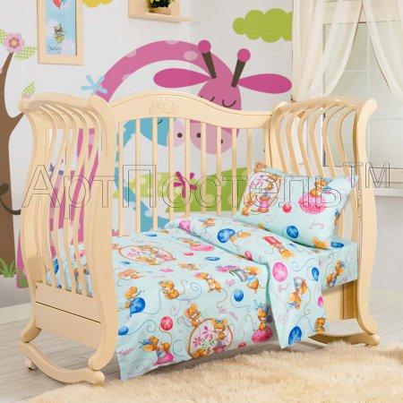 «Мышки (голубые)» дет. кроватка постельное белье, Бязь, Арт Дизайн