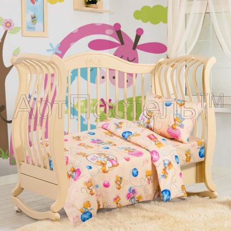«Мышки (персик)» дет. кроватка постельное белье, Бязь, Арт Дизайн