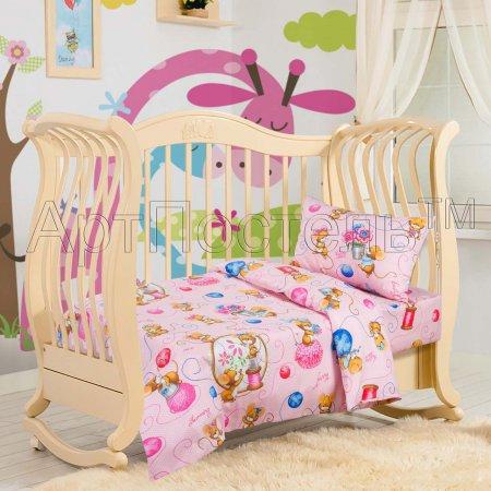 «Мышки (розовые)» дет. кроватка постельное белье, Бязь, Арт Дизайн