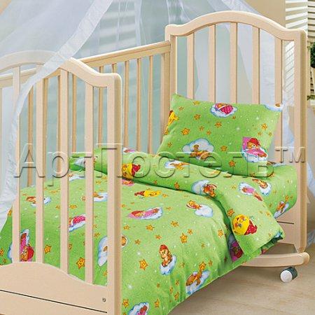 «Облачко (зеленый)» дет. кроватка постельное белье, Бязь, Арт Дизайн