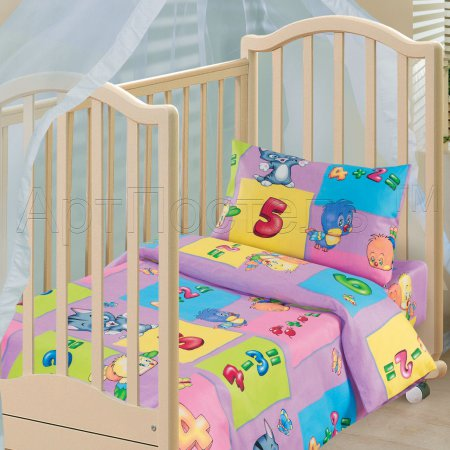 «Забавный счет (фиолетовый)» дет. кроватка постельное белье, Бязь, Арт Дизайн