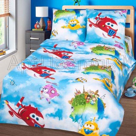 «Воздушный патруль» 1,5 - спальное постельное белье, Бязь, Арт Дизайн