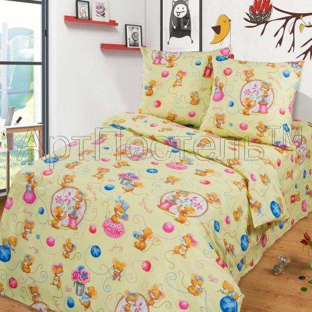 «Мышки (фисташка)» 1,5 - спальное постельное белье, Бязь, Арт Дизайн