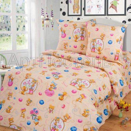 «Мышки (персик)» 1,5 - спальное постельное белье, Бязь, Арт Дизайн