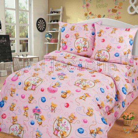 «Мышки (розовые)» 1,5 - спальное постельное белье, Бязь, Арт Дизайн