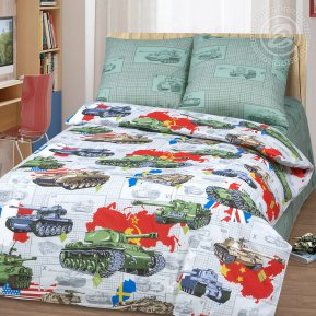 «Танки» 1,5 - спальное постельное белье, Бязь, Арт Дизайн