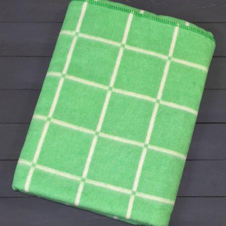 Одеяло байковое Зеленое «Клетка» 140*205 всесезонное, АльВиТек