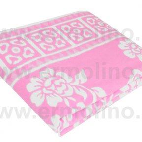 Одеяло байковое жаккард Розовое «Ермолино» 150*215 всесезонное, АльВиТек