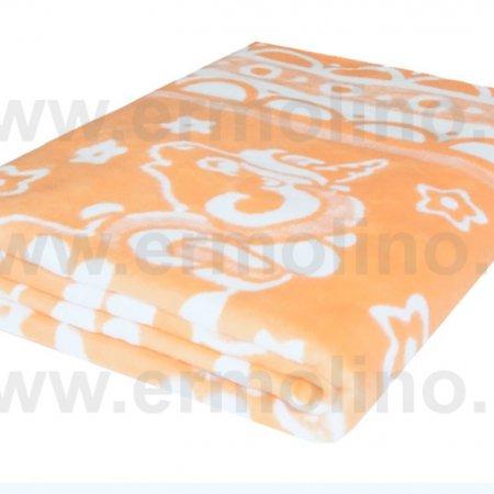 Одеяло байковое жаккард Абрикос «Ермолино» 150х215 всесезонное, АльВиТек